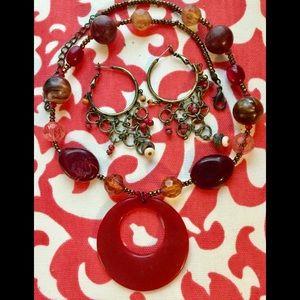 Jewelry - Necklace faux marble, dangle earrings
